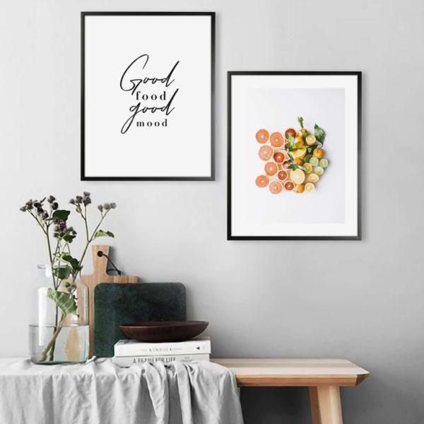 пара постеров в рамках нарезка фруктов