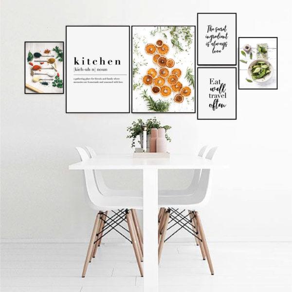 Большая галерея постеров на кухню