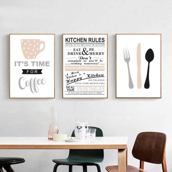 три постера кухня скандинавский стиль