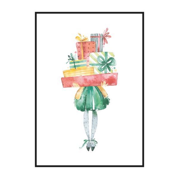 Постер на стену Девочка с подарками
