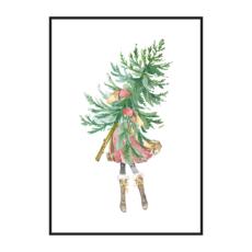 Постер на стену Девочка с ёлкой
