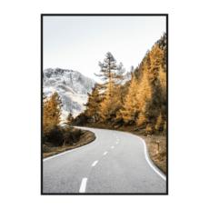 Постер на стену Дорога через осенние горы