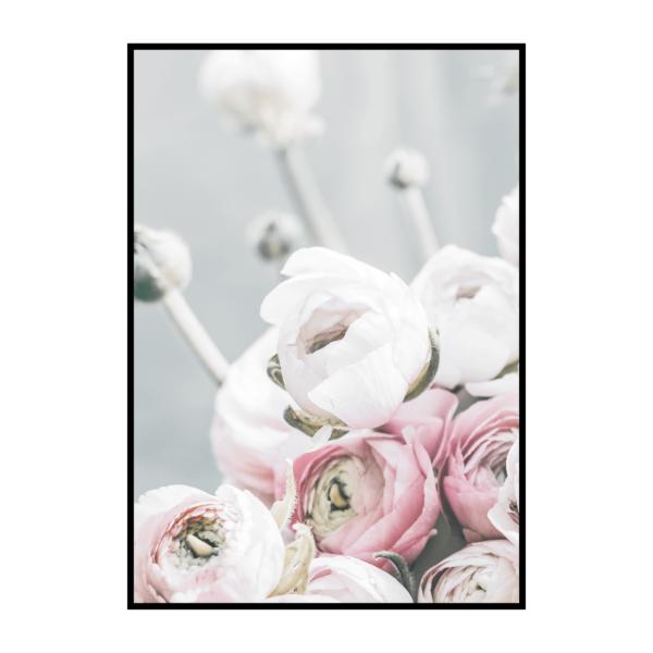 Постер на стену Зелено-розовые цветы