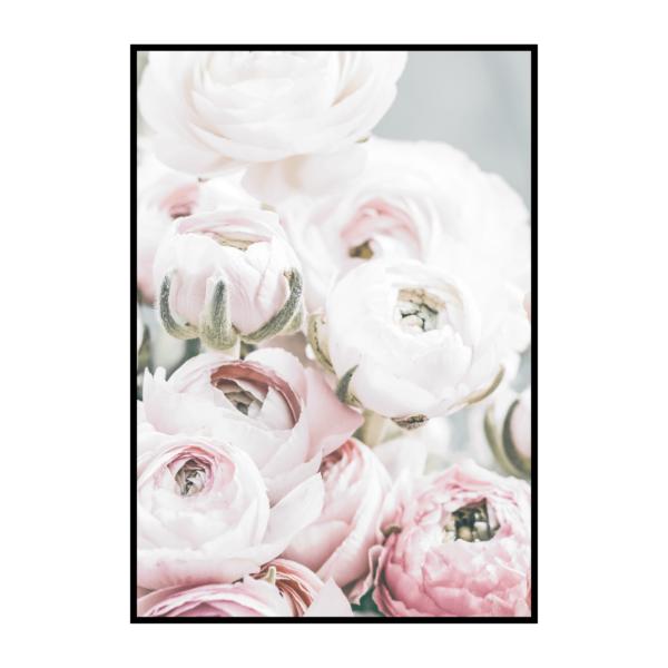 Постер на стену Зелено-розовые цветы 2