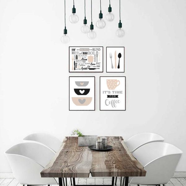 четыре постера кухня скандинавский стиль