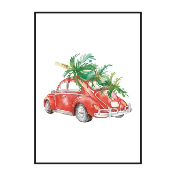 Постер на стену Красная машина с ёлкой
