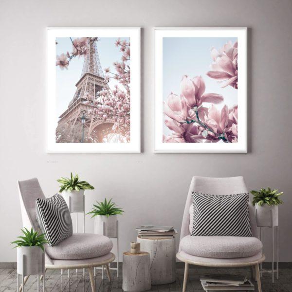 пара постеров нежный розовый париж