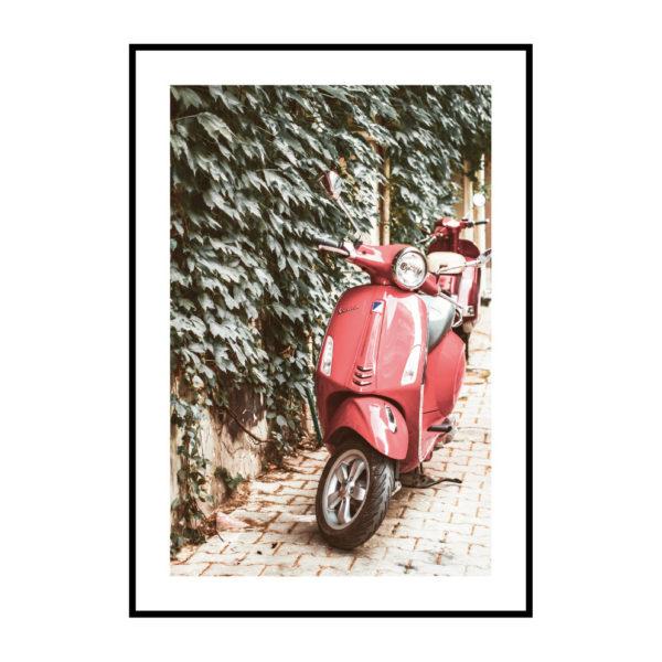 Постер на стену Красный мопед
