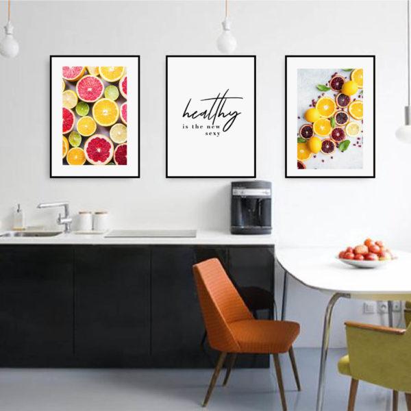 Трио постеров с цитрусами