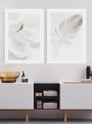 Пара постеров Цветок с пером
