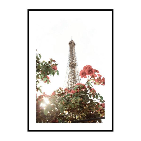 """Постер на стену """"Цветы на фоне башни"""" Париж"""