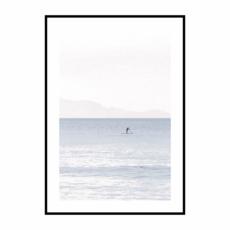 Постер на стену Море розово-голубое с лодкой