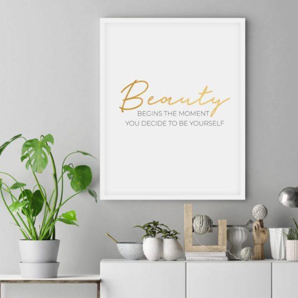 Постер на стену Beauty золотой