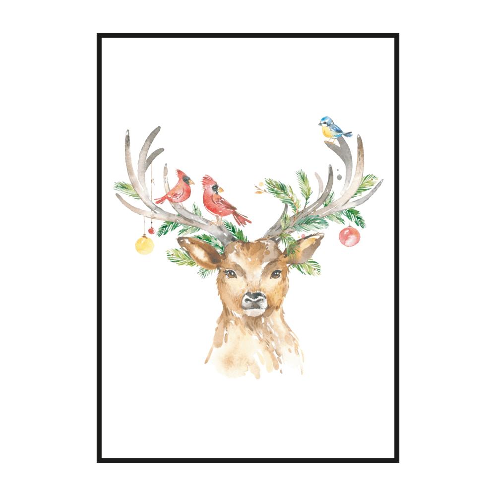 Постер на стену Новогодний олень с птицами