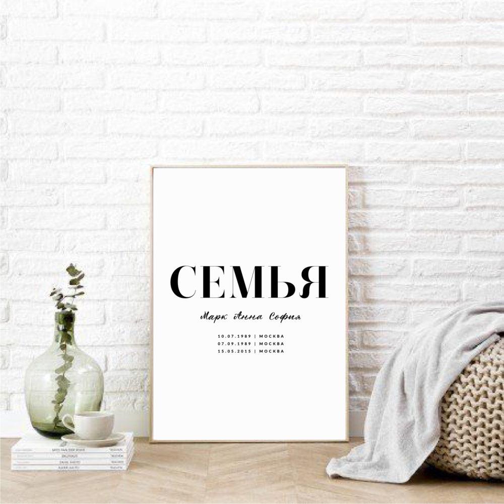 """Именной постер """"Семья"""" скандинавский стиль"""