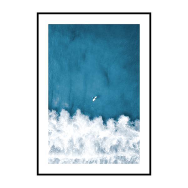 Постер на стену Синее море с лодкой