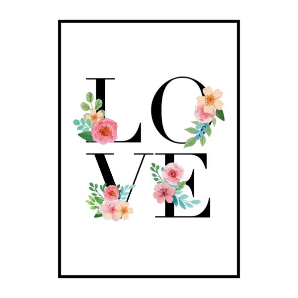 Постер на стену Love акварельные цветы