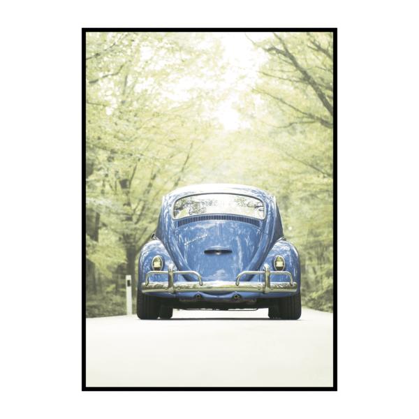 Постер на стену Машина синяя в лесу