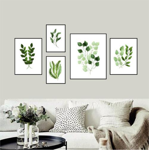 Галерея постеров с акварельными растениями
