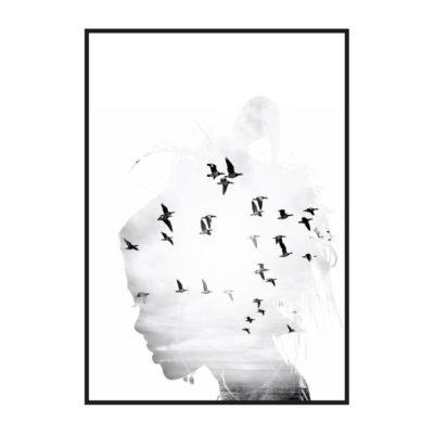 """Постер на стену """"Силуэт девушки с птицами"""""""
