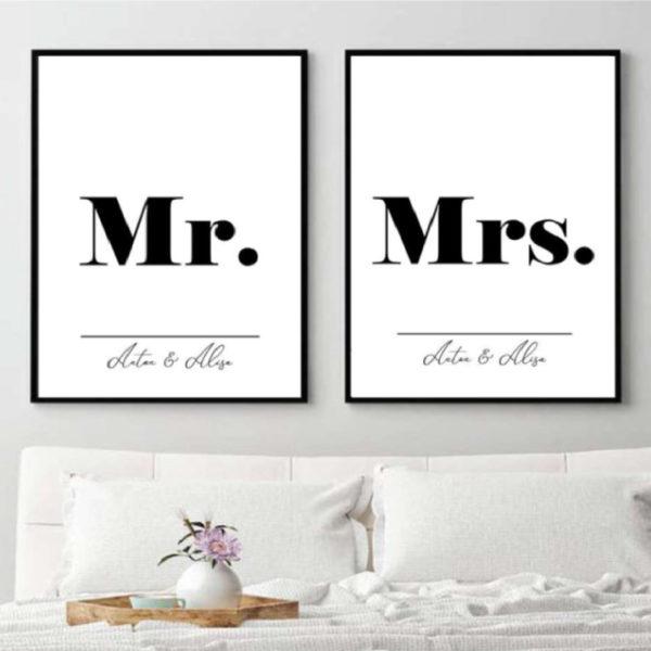 Пара постеров Mr и Mrs