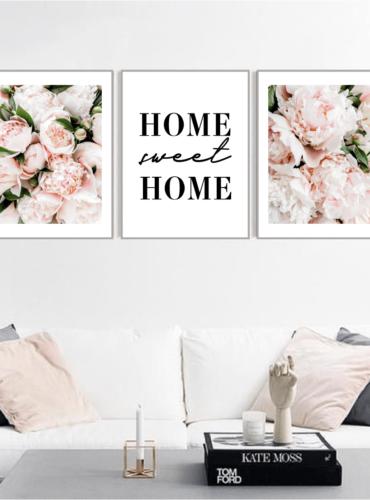 Трио постеров с пионами Home sweet home
