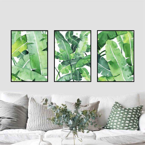 Трио постеров с банановыми листьями