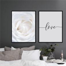 Пара постеров Белый цветок Love