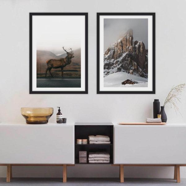 Пара постеров Олень и гора