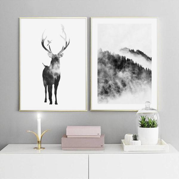 Пара постеров Олень и лес в тумане скандинавский стиль