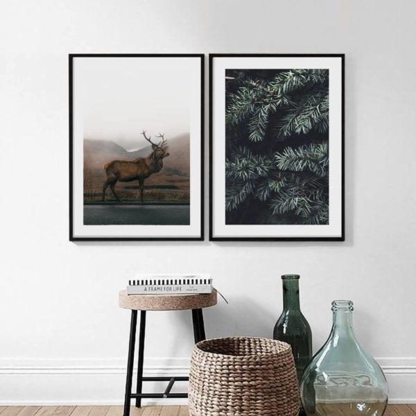 Пара постеров Олень и еловые ветки