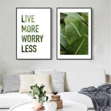 Пара постеров Листья Live more less