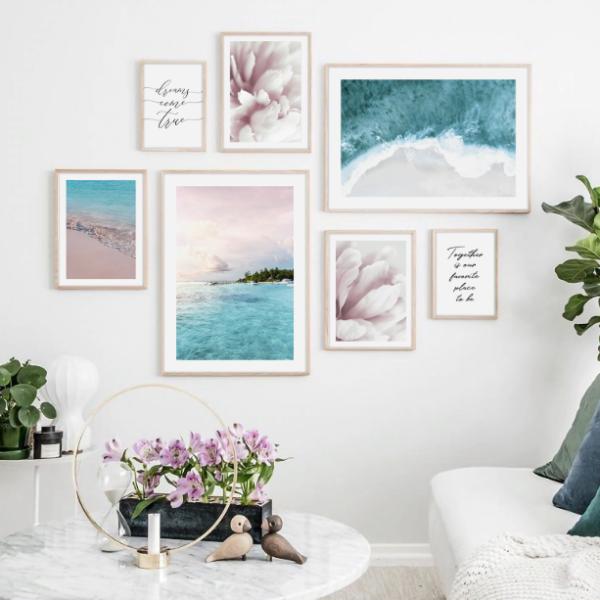 постер море нежный голубой и розовый