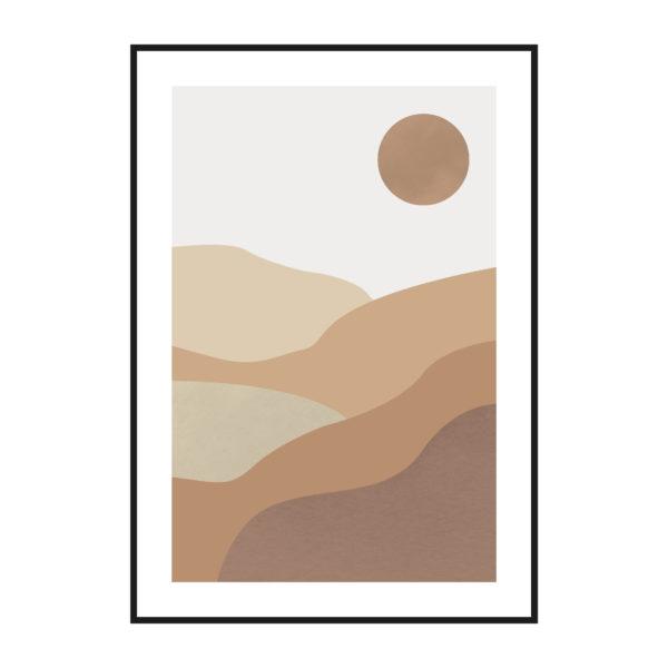 постер пустыня солнце песок минимализм