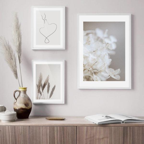 Нейтральная галерея постеров 3 цветы силуэты