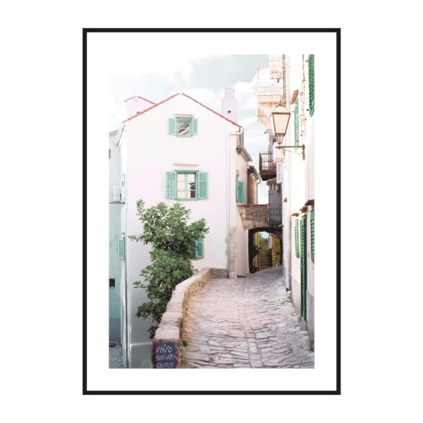 европейская улица старого города постер