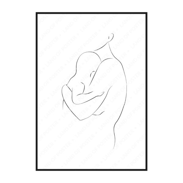 вертикальный постер силуэт мама и младенец