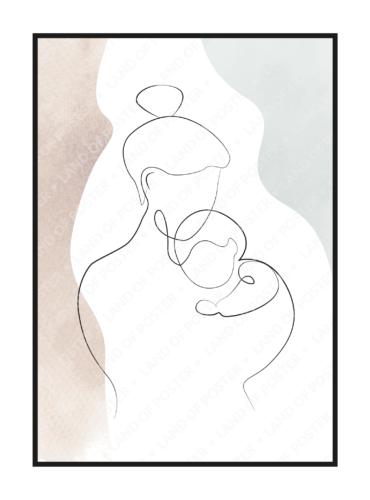 мама и новорожденный постер в детскую