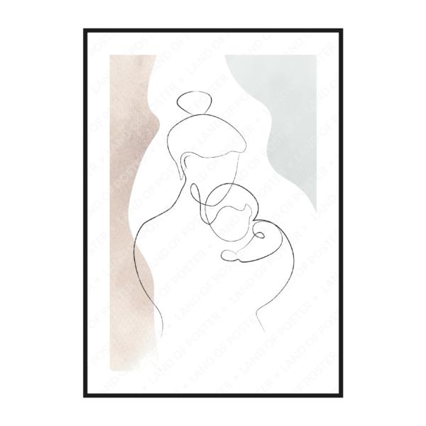 мама и младенец на руках эскиз постер