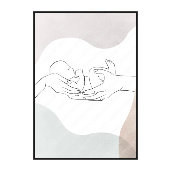 Младенец в руках вертикально расположенный постер