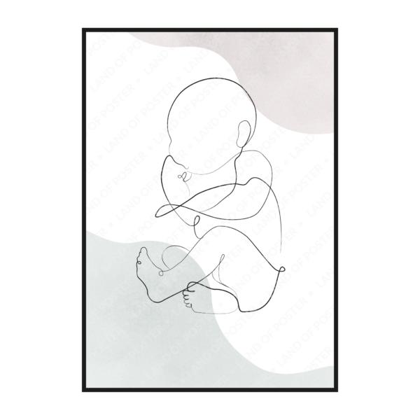 силуэт ребенок эскиз постер