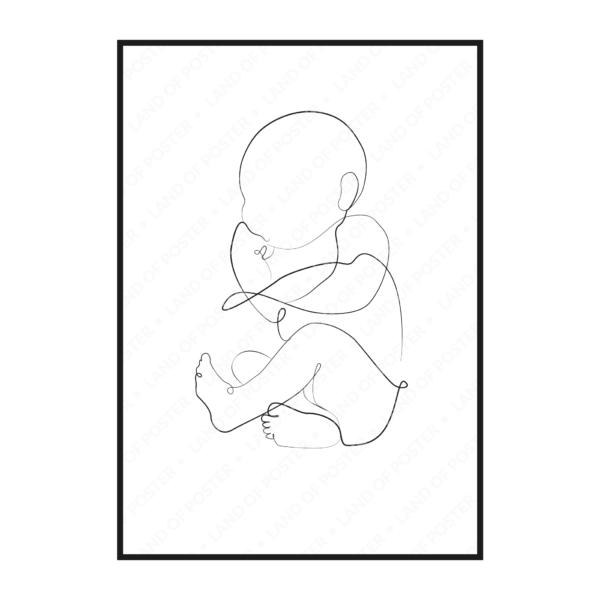 силуэт младенца постер