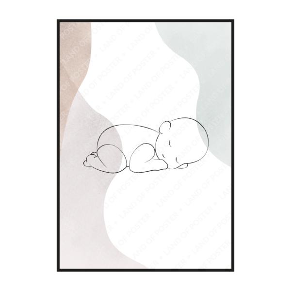 силуэт ребенка тонкий эскиз постер