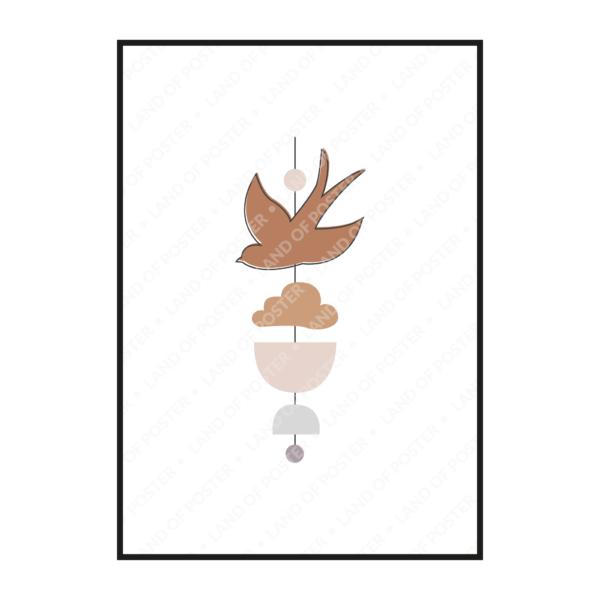 постер фигурки птичка рисунок