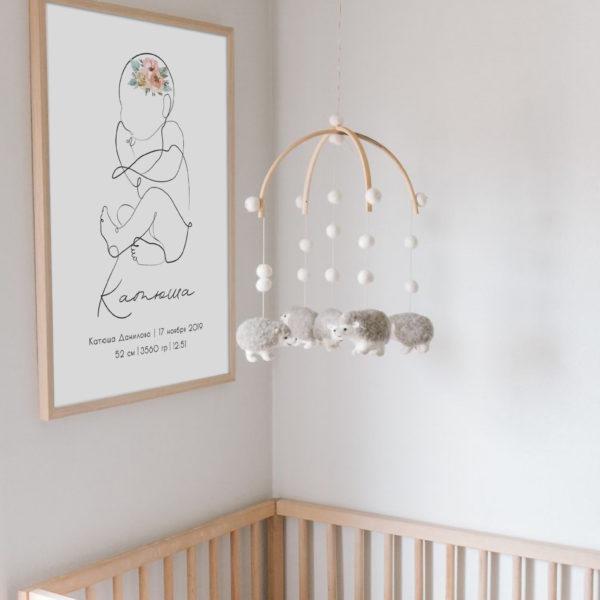 постер над кроваткой имя малыша