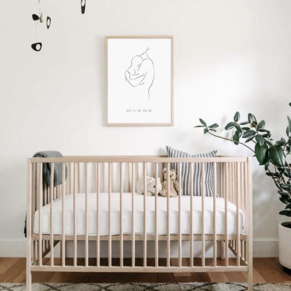 эскиз постер в рамке мама малыш