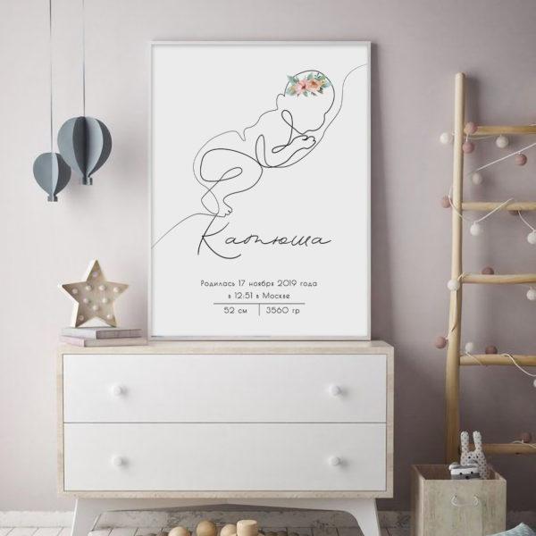 постер имя метрика эскиз силуэт ребенка