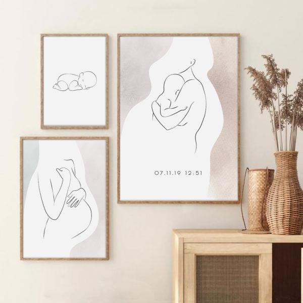постеры в белом цвете в детскую мама ребенок