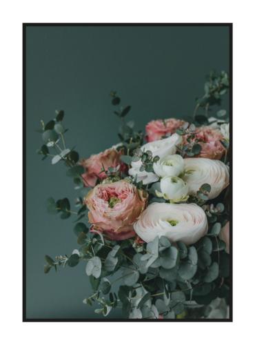 постер с цветами ранункулюсы темно-зеленый
