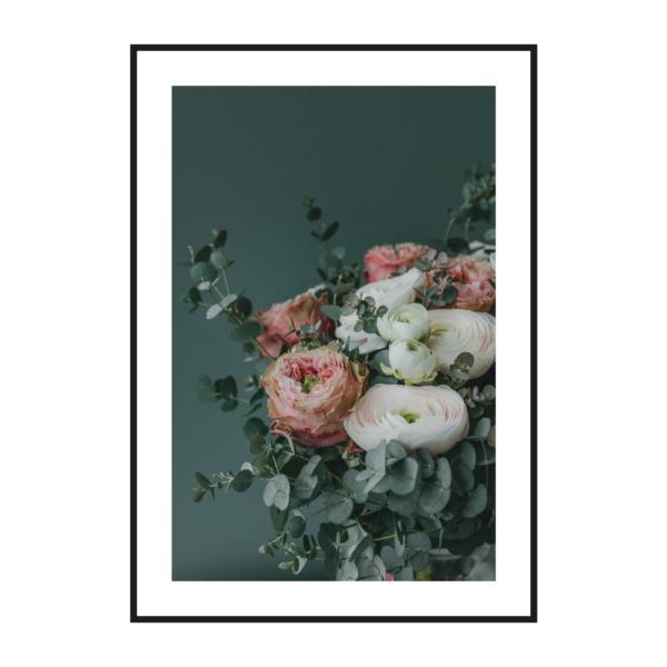 постер розы на болотном фоне
